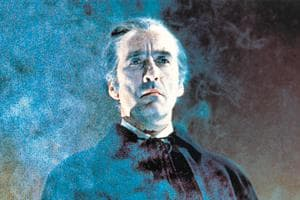 British actor Christopher Lee in a promotional portrait for the 1968 film,  Dracula Has Risen from the Grave.