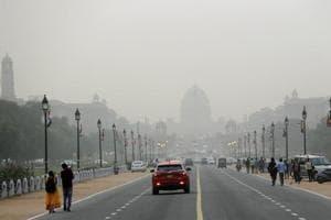 Raisina hills enveloped in a thick blanket of smog in New Delhi.
