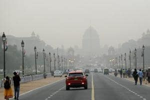 Raisina hills is seen enveloped in a thick blanket of smog in New Delhi. As air pollution peaked this week in Delhi, it rose to more than 30 times the World Health Organization