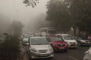Heavy traffic jam occured due to the less visibility in Dwarka, New Delhi, India, on Wednesday, November 8, 2017.