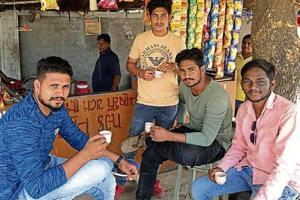 B.Sc student Khilraj Rathwa (far right) credits Prime Minister Narendra Modi for constructing roads and ensuring electricity for 24 hours.