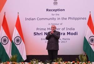 Prime Minister Narendra Modi at the community reception organised by the Indian ambassador to the Philippines in Manila on Monday (Narendra Modi Twitter)
