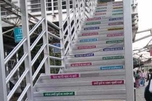 Rlys paint messages on steps of FOBs, ask Mumbai commuters to wear...