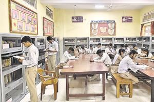 Students at Rajkiya Pratibha Vikas Vidyalaya, Karol Bagh. The government says that the mock tests will help prepare students for competitive exams.