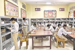 Students at Rajkiya Pratibha Vikas Vidyalaya, Karol Bagh. The government says that the mock tests will help prepare students for competitive exams.