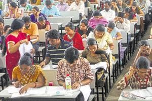 Candidates take the National Eligibility Test (NET) in Ranchi.
