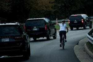 Cyclist who gave Trump the finger is showered with money