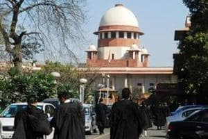 Lawyers outside the Supreme Court inDelhi.