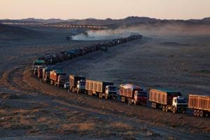 Photos: Massive jams along China border clog Mongolia's coal...