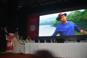 The Namami Barak theme song being screened at its official launch in Silchar on Monday.