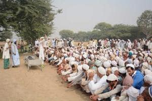 Cattle trader Umar Mohammed's funeral in Rajasthan's Ghatmika village on Thursday. Umar was allegedly murdered by cow vigilantes last week in Alwar.