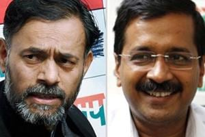 In the movie, Yogendra Yadav (left) is projected as someone who meticulously planned the strategies during the campaign that catapulted Arvind Kejriwal to his spectacular electoral success.