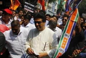 MNSchief Raj Thackeray along with supporters at his October 5 protest march.