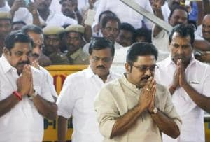 Sidelined AIADMK leader TTV Dinakaran (foreground) at Jayalalithaa's memorial at Marina Beach in Chennai. Dinakaran is under increasing pressure following a series of Income Tax raids on properties linked to his family and friends.