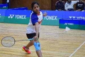 Gayatri Gopichand Pullela in action during the girls' U-19 singles final match of the 26th Krishna Khaitan All-India Junior Ranking Badminton Tournament held in Chandigarh on Sunday.