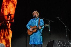 Sheeran, wearing an ocean blue kurta with 'Divide' written in Hindi at the back, opened the concert with 'Castle on the hill'.
