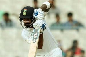 India batsman KLRahul against Sri Lanka on Day 4 of the first Test encounter in Kolkata. Get highlights of India vs Sri Lanka, 1st Test Day 4, Kolkata, here.