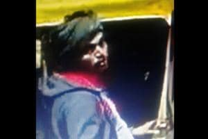 A CCTV grab of the accused at the Sector-42 petrol pump.