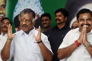 File photo of Tamil Nadu Chief Minister K Palaniswami (R) and O Panneerselvam after the merger of their factions in Chennai on August 21.