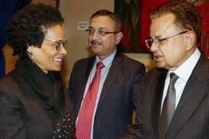 Justice Dalveer Bhandari (right) is greeted during a reception organised in his honour at the United Nations in New York on Monday.