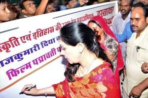 Sawai Madopur MLA and member of erstwhile royal family of Jaipur, Diya Kumari, at a signature campaign opposing the release of Padmavati.