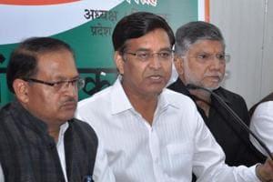 Uttarakhand Congress president Pritam Singh addresses mediapersons in Dehradun on Tuesday.