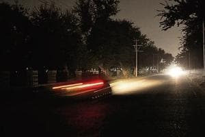 HEADING INTO BLACKNESS: The streets of Chandigarh's Sector 40C sans streetlights.