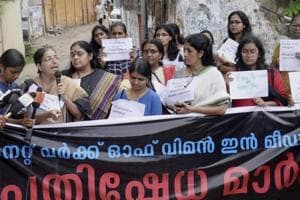 Woman journalists protest against Mangalam TV in Thiruvananthapuram over the telecast of a sexually explicit conversation allegedly between former Kerala transport minister AK Saseendran and a woman.
