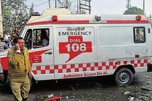 An 108 Ambulance near the factory site in Ludhiana on Wednesday.