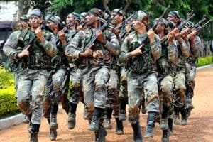 Special arms force of Jharkhand police in drill for anti naxal combing operation at JAP 1 Ground in Ranchi, on September 12, 2017.