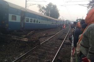 A derailed coach of the Vasco Da Gama-Patna Express near Manikpur railway station in Uttar Pradesh.