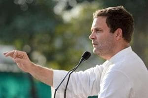 Congress vice-president Rahul Gandhi addresses a rally in Ahmedabad on Friday.