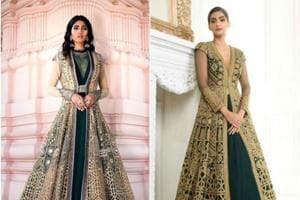 On the left, JJ Valaya's creation. On the right, a creation by Neeru's, modelled by actor Sonam Kapoor.