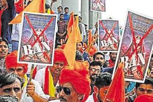 Demonstrators chant slogans as they protest against the release of the upcoming Bollywood movie
