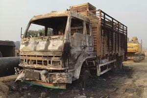 The truck that was set on fire by suspected Maoists in Gaya district on Friday night.