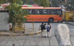 A cluster bus parked inside Sukhdev Vihar Bus Depot in which Mohammad Anas, a 17-year-old B Com Hons student, was stabbed to death near Ashram, in New Delhi on Friday.