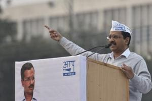 AAP chief and Delhi chief minister Arvind Kejriwal addresses the Aam Aadmi Party National Conference at Ram Lila Maidan in New Delhi on November 26.