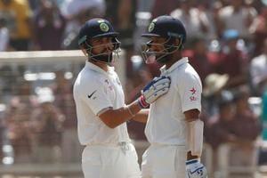 Virat Kohli (L) and Cheteshwar Pujara shared a 183-run stand during the second India vs Sri Lanka Test.