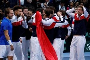 France celebrate winning the Davis Cup title after beating Belgium 3-2 in the final in Lille.