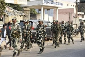 In Dadri, paramilitary forces were seen conducting flag marches to ensure crowd management