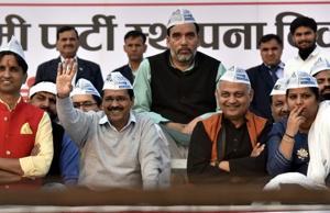 (From left)  AAP leaders Kumar Vishwas, Arvind Kejriwal, Gopal Rai,  Somnath Bharti and Rakhi Birla during the national convention  at Ramlila Maidan in New Delhi on Sunday.