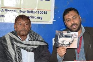Ilyas Khan (left), uncle of Umar Mohammed, and Ansar Indori, member of the National Confederation of Human Rights Organisations, at a press conference in Jaipur on Monday.
