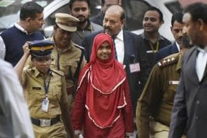 24-year-old Hadiya (C) at the Supreme Court after hearing in New Delhi on Monday.
