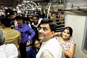 Piyush Goyal reached Elphinstone Road station around 4pm.