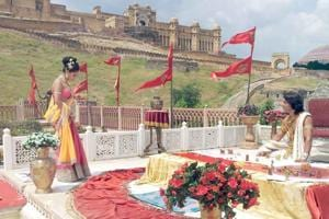 A shooting for a film in progress at the Amer Fort in Jaipur.