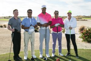 Bob Dow (from left) , Kishore Musale, Tiger Woods, Pawan Munjal and Mandy Quattlebaum during the Pro-Am ahead of Hero Word Challenge.