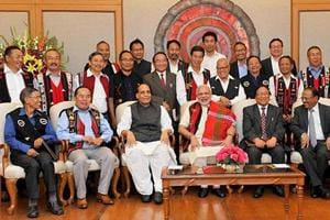 File photo of Prime Minister Narendra Modi with Union Home Minister Rajnath Singh, Chairman of NSCN (IM) (late) Isak Chishi Swu, NSCN (IM) General Secretary Thuingaleng Muivah NSA, Ajit Doval and others at the signing ceremony of the peace accord between Government of India and NSCN in New Delhi on August 3, 2015