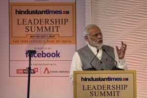 Prime Minister Narendra Modi delivers the inaugural address during the Hindustan Times Leadership Summit in New Delhi on Thursday.