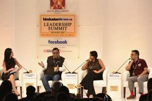Vijay Shekhar Sharma, founder of Paytm, Ashwini Asokan, founder of Artificial Intelligence solutions company MAD Street Den and Neeraj Kakkar, co-founder of Hector Beverages at the 15th Hindustan Times Leadership Summit in New Delhi.