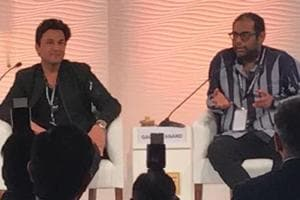Vikas Khanna, chef, author and filmmaker and Gaggan Anand, chef and restaurateur, in conversation with Ritu Dalmia, chef and restaurateur at the Hindustan Times Leadership Summit in New Delhi on Thursday.
